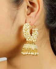 7186  Pearl White Gold Tone Indian Earrings Jhumka-Jhumki Bollywood Jewelry Set