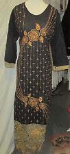 beautiful gold emboridy  wroks  slik cotton    salwar kameez  size3 XL 48