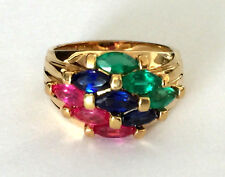 Canada Sterling Silver 925 Ladies Trio Ring Ruby Sapphire Emerald Sz 7.25 Band