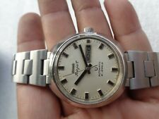 INDIA RARE VINTAGE ST STEEL DULL WHITE DAY DATE HMT RAJAT AUTOMATIC WRISTWATCH