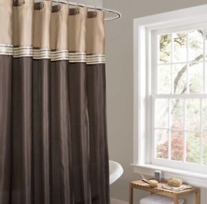 Lush Decor Terra Shower Curtain - Brown / Tan