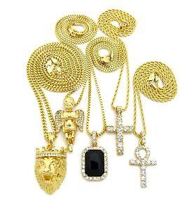Hip Hop Pave Gemstone, Ankh, Cross, Angel, Lion Head Pendant 5 Necklace Set