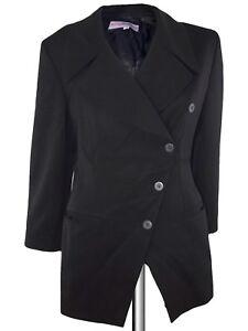 byblos giacca cappotto donna nero made italy lana bottoni sfalsati taglia it 44