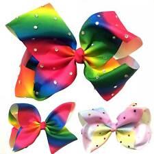"10 pcs Hair Bow Job Lot Large Wholesale Rhinestone Rainbow Bow Pastel 8"""