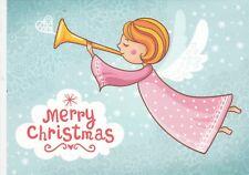 MERRY CHRISTMAS Angel with horn by Smirnova Russian modern postcard