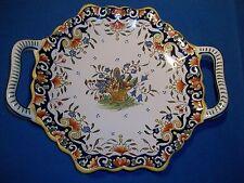 Joli plat à anses ancien, en faïence de Rouen, inscrit derrière Rouen fait main