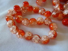 20 Crackle Glass Beads 12mm Orange/Crystal #g630 Combine Post-See Listing