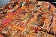 """BEADED BEDCOVER VINTAGE INDIAN SARI  EMBROIDER BEDSPREAD 80""""x78"""" OR TAPESTRY"""