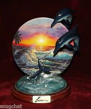 2000 Bradford Exchange Plate Sunset Splash by Christian Lassen Dolphins Waves