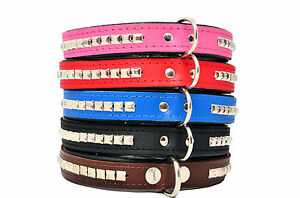 REAL LEATHER Square STUDDED DOG Puppy COLLAR with Black soft linning