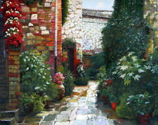 """Oil Painting """"Garden in Tuscany"""" 24 x 30 in"""
