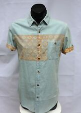 Brave Soul Designer New Mens Size S Shirt Casual Denim Aztec Print Short Sleeve