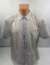 Cypress Club Mens Casual Short Sleeve Button Down Shirt Beige Sz Large