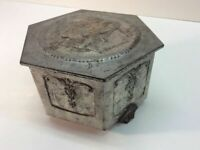 Vintage 5 Sided Tin Box Trinket Jewelry Victorian Style A6