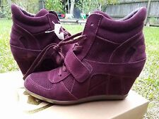 $235 ASH LIMITED Bowie Wedge Suede leather High Sneakers WOMEN BURGUNDY 40 US 9