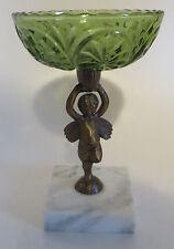 Cherub Compote Candy Dish Pedestal Green Glass Marble Base Angel