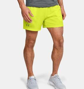 "Under Armour UA SpeedPocket 5"" Lined Running Shorts Neon Green Size XL X-Large"