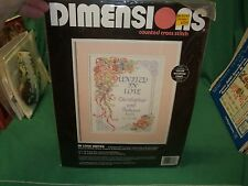 """Dimensions """"United In Love"""" Wedding Counted Cross Stitch Kit 11"""" x 14"""" NEW"""