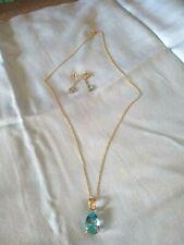 Lovely 14K Yellow Gold Blue Topaz/Diamond Chips Pendant w/ Matching Earrings Set