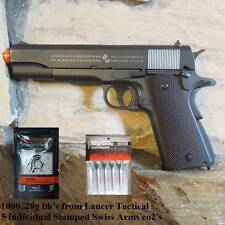 COLT 1911A1 FULL METAL,LICENSED CO2 AIRSOFT BLOWBACK GUN/1000.20 BB'S  & 5 CO2'S