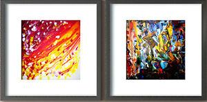 Plexiglass cover with black wooden frame Modern Art. . Special Offer Set of 2