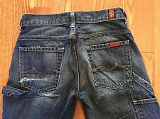 Women's 7 FOR ALL MANKIND Distressed Rear Flare Cargo Jeans - Size 24