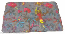 Indian King Kantha QuiltSari Quilt Bedspread Bed Cover Kantha Rallies 90'x108""