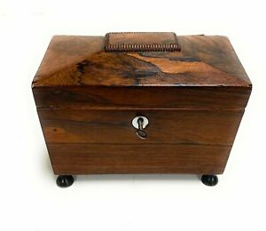 19th Century Rosewood Tea Caddy With Two Compartments On Ball feet