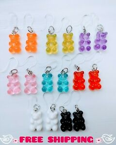 Gummy Bear Earrings Ultra Sensitive Resin Candy Girl Gift Jewelry Set of 8 🐻