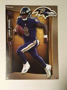"""Lamar Jackson Baltimore Ravens w/ Logo 2019 NFL Fathead Tradeable """"5X7"""""""