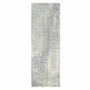 4'x12' Hand Knotted Mosaic Design Gray Wool and Silk Runner Rug R63061