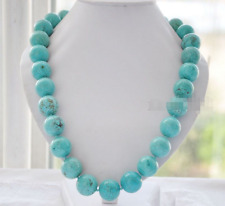 Fashion Women's 12mm Natural Blue Turquoise Gemstone Beads Necklace 20''