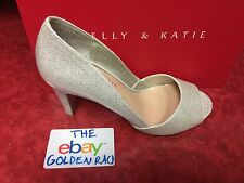 Kelly Katie Tibalt Silver Sparkle Metallic Gold Reflections Peep Toe Heels @ 8.5