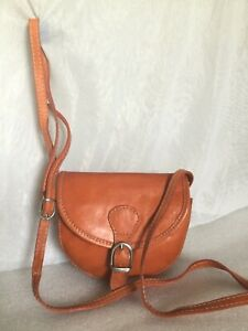Small VERA PELLE Orange Leather Cross Body/Shoulder Bag / Handbag, Made In Italy