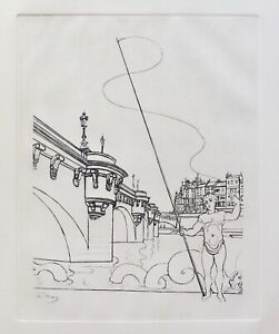 Andre Derain LE PONT NEUF Restrike Etching Signed in the Plate