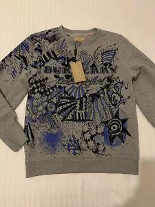 Womens Burberry Grey Printed Sweatshirt. Size S. BNWT
