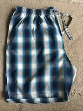 M&S Mens Teal Cotton Checked Pyjama Cotton Loungewear Shorts Size XL
