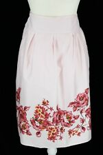 NWT Croft & Barrow Women's 16 Baby Pink & Roses Side Zipper Below Knee Skirt