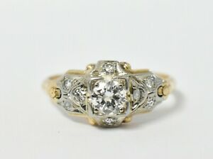Art Deco 14K & 18K GRANAT Antique Diamond Ring .40CTTW SZ 5.25, 2.2G *READ DESC.