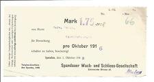 Quittung Spandauer Wach- und Schließgesellschaft 1916