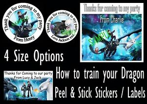 How to train your Dragon inspired stickers party bag sweet cone Labels Toothless