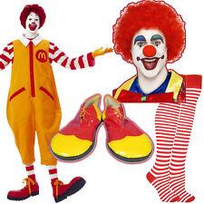 Unisex Ronald McDonald Costume Kit Clown Fancy Dress Wig MakeUp Nose Shoes Socks