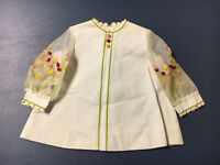 Vintage Ruth of Carolina Little Girls White Dress Sheer Sleeves Flowers Buttons