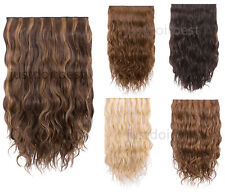 "Wavy hair One Piece 5 clips-In on wavy Human Hair Extensions 15""~24"" clip hair"