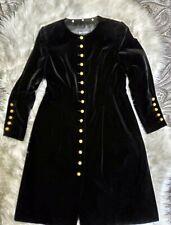 EUC BEAUTIFUL RENA LANGE BUTTON UP BLACK VELVET DRESS COAT SIZE M/L