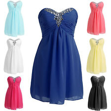 New Short Bridesmaid Formal Ball Gown Chiffon Party Evening Prom Dress Size 6-24