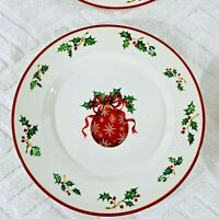 Christopher Radko Traditions Holiday Celebration Red Ornament Salad Plate Set 4