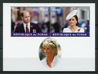 Chad 2018 MNH Prince William & Kate Princess Diana 2v M/S Royalty Stamps