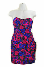 Short Strapless Sweetheart Dress S Floral Tube Blue Pink Black Rockabilly