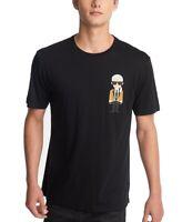 Karl Lagerfeld Mens T-Shirt Black Size XL Crewneck Graphic Front Tee $69 #087